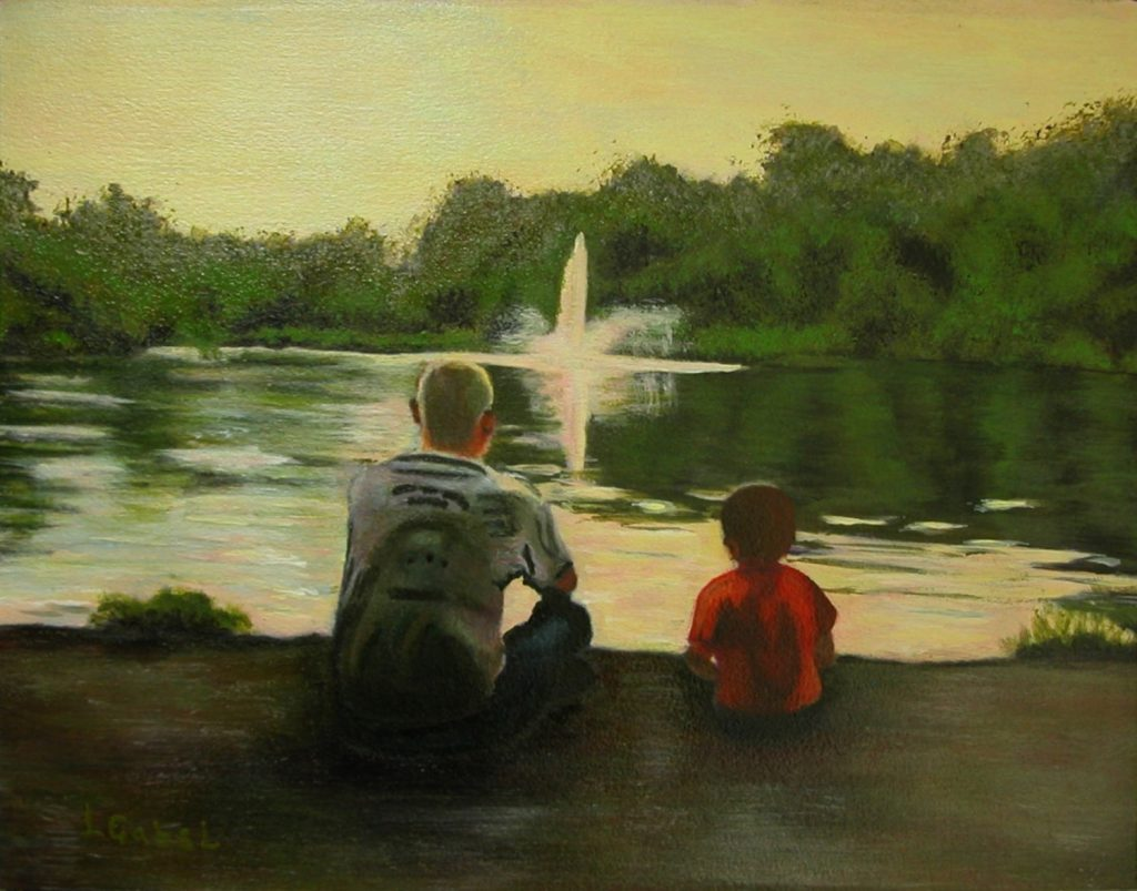 """© Laura Gabel, """"Billy & Grandson"""". Acrylic and canvas, 16.5 x 13.5. Private collection."""
