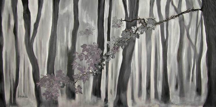 """© Laura Gabel, """"Mauve Leaves"""". Acrylic on canvas, 24 x 48. Private collection."""