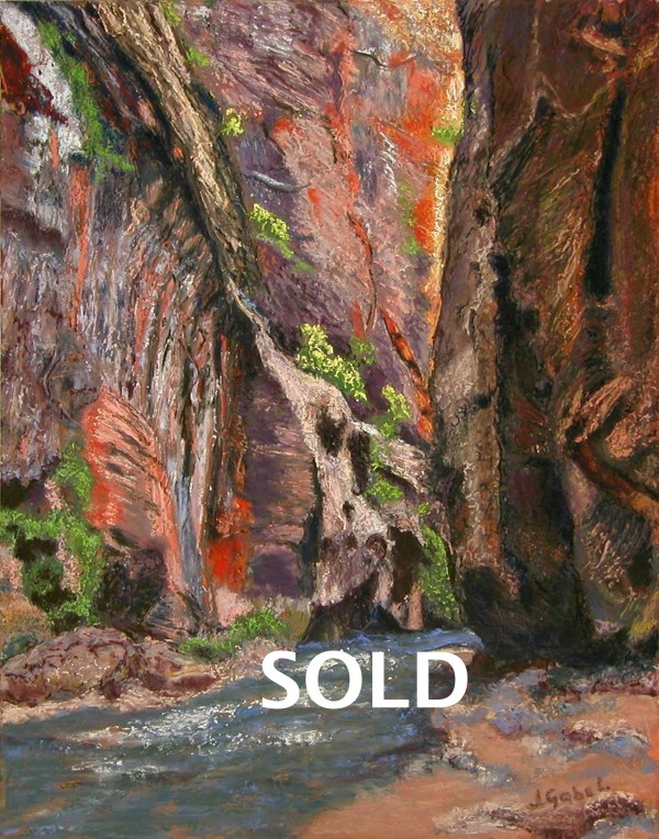 "© Laura Gabel, ""Apricot Canyon 2"". Soft pastel, 16 x 20. Private collection."
