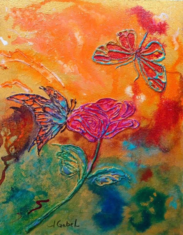 "Am I Crazy? © Laura Gabel, ""Butterfly Beauties"". 11x14, mixed media. Private collection."
