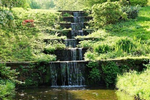 baden grass garden waterfall