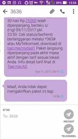 Paket Internet Telkomsel 4G 1GB - Gagal