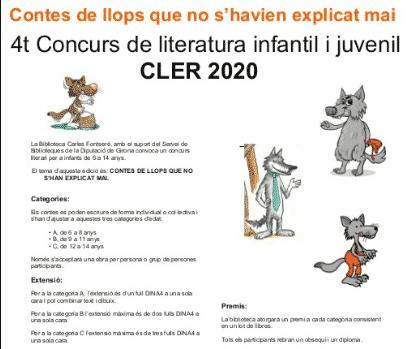 4t Concurs de literatura infantil i juvenil CLER 2020
