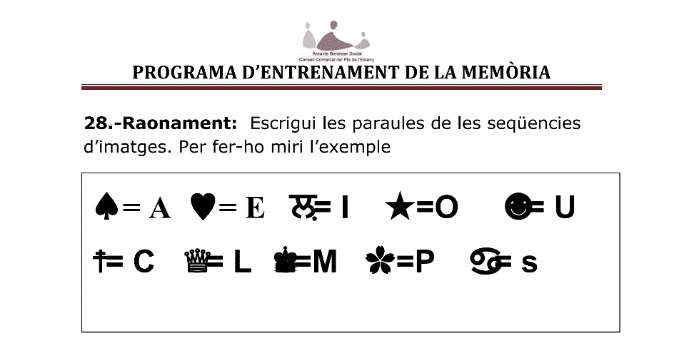 EXERCICIS D'ENTRENAMENT DE LA MEMÒRIA