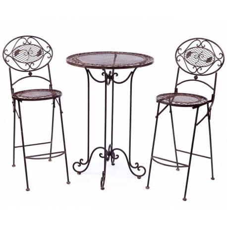salon de jardin salon de the 2 places personnes table bistrot et 2 chaises pliantes en