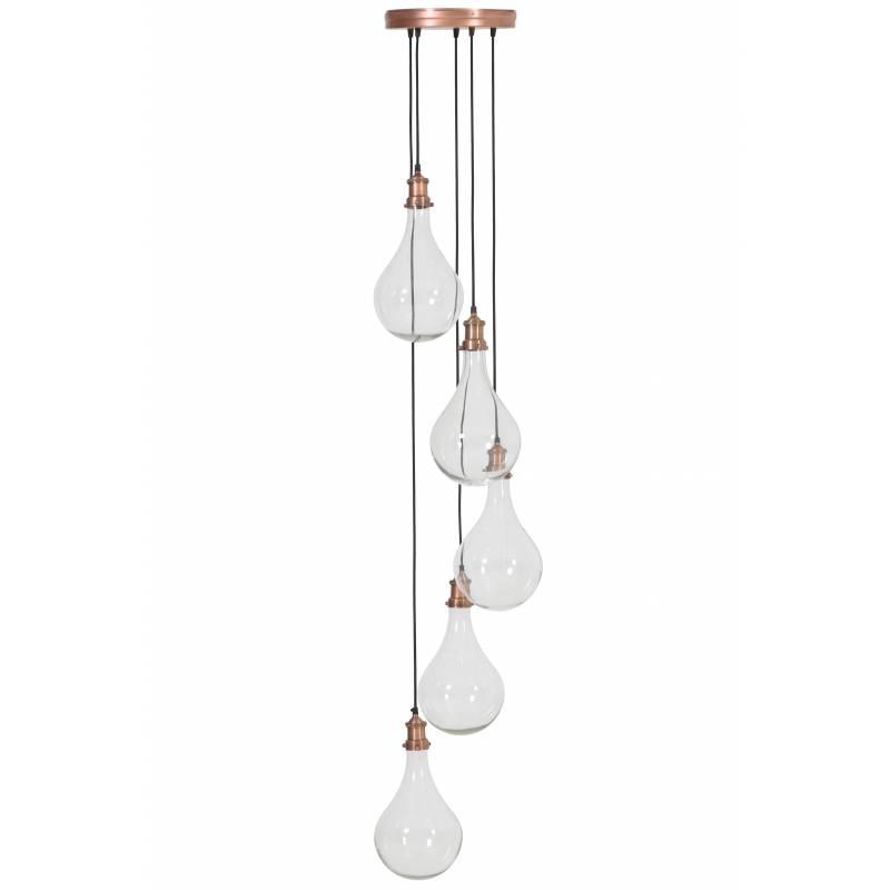 ensemble de suspensions quirina lustre plafonnier 5 ampoules luminaire en verre et metal patine cuivre 30x30x190cm