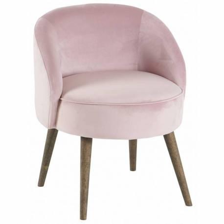 fauteuil de salon honore chaise basse hanjel en velours rose poudre 54x54x64cm