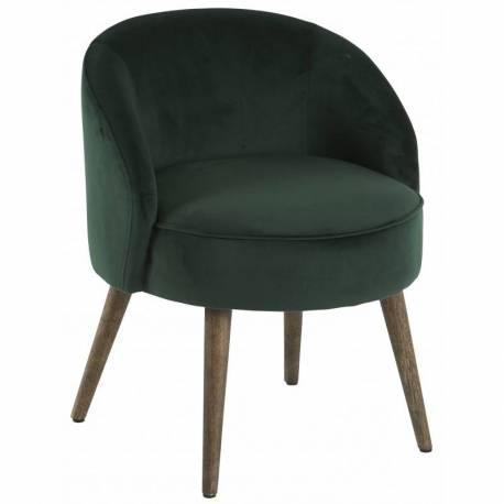fauteuil de salon honore chaise basse hanjel en velours vert empire 54x54x64cm