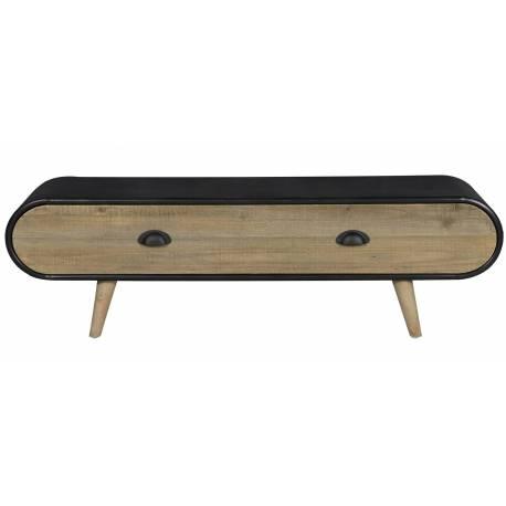 meuble tv trunk hinsk console d appoint 1 tiroir industrielle sellette salon en bois et acier 35x36x120cm