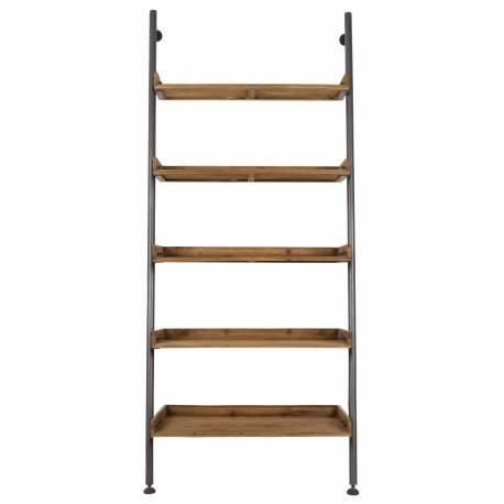 meuble etagere wally bibliotheque woody rangement en bois et acier 45x86x200cm