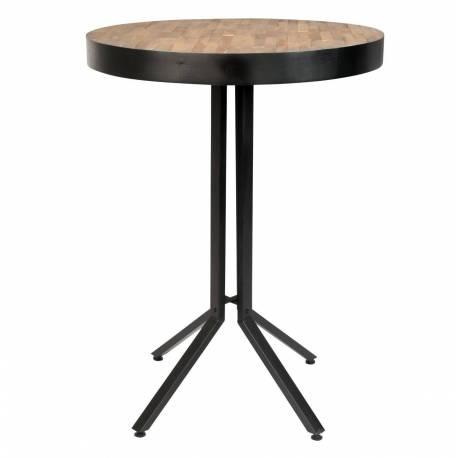 table haute de bar woody ronde maze mange debout design industriel en acier et bois naturel 75x75x110cm