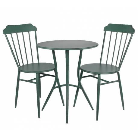 salon de jardin style bistrot en metal vert 1 table 2 chaises