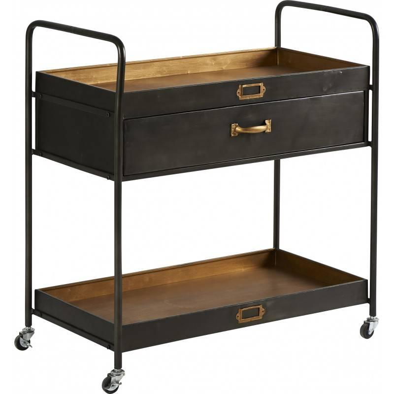 desserte tiroirs marque athezza console d appoint sur roulettes en bois et metal noir 45x78x82cm