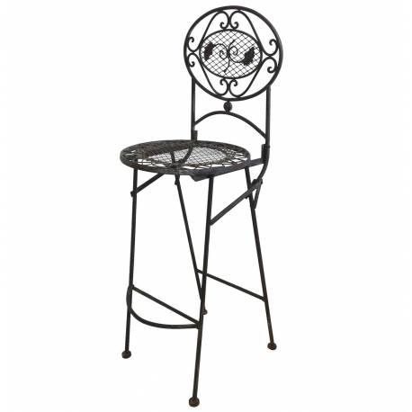 chaise haute pliante fauteuil de bar pliable ou pour ilot central en fer forge marron 67x72x115cm