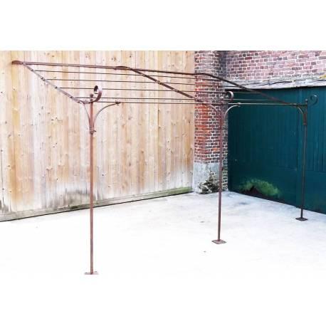 veritable pergola abris de terrasse tonnelle de jardin en acier brut oxyde 300x310x385cm