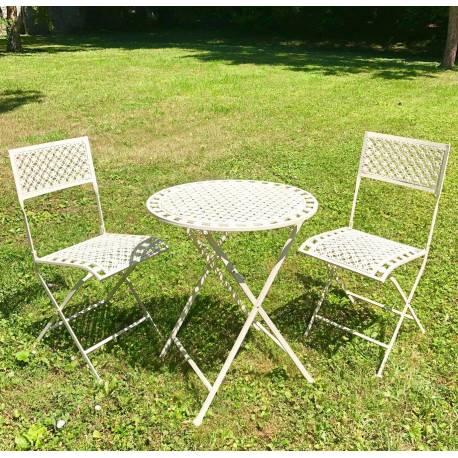 salon de jardin auguste table et chaises de jardin ensemble pliable d exterieur en metal blanc