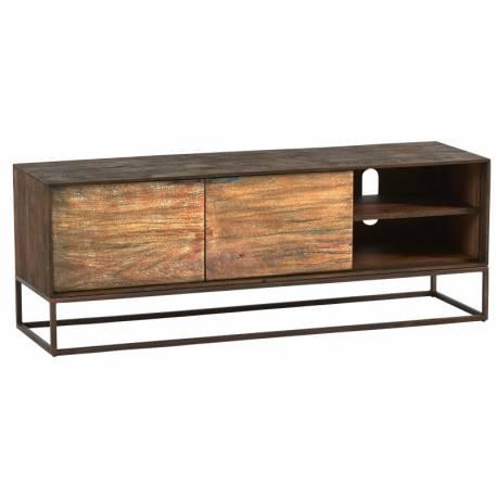 meuble tv agra hanjel console tele en bois et metal 35x45x145cm