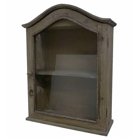 etagere de rangement murale vitree facon petite armoire de pharmacie en bois a 1 porte 16x43x56cm