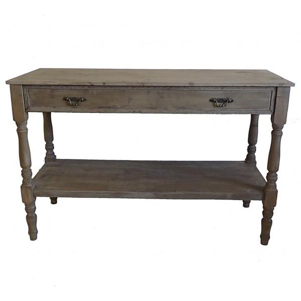 table de drapier console meuble d appoint en bois avec grand tiroir bois 45x77x120cm