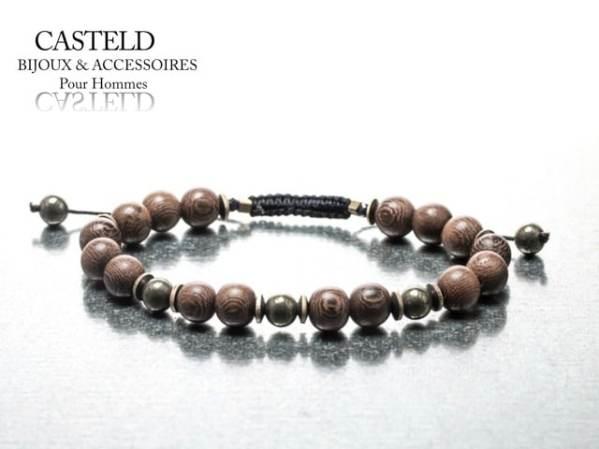 Bracelet homme perle bois Casteld à 75€.
