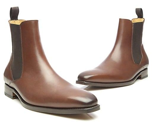 Chelsea boots homme en cuir marron bout carré