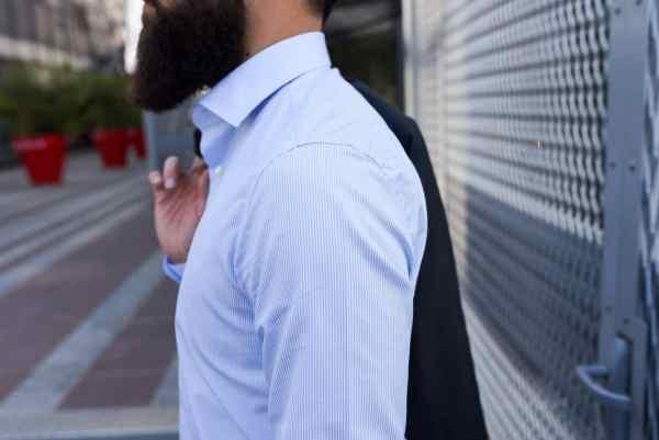 Chemise habillées GIOTHO: modèle Mash bleu ciel / Col cutaway / Coutures anglaises 6,5 points au centimètre