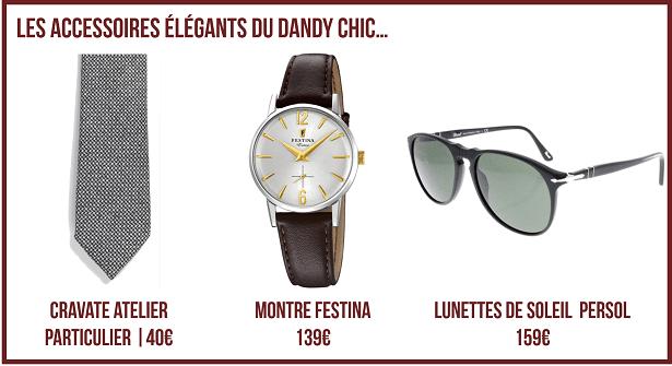 Cravate, montre et lunettes de soleil pour dandy chic