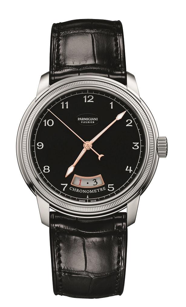 Parmigiani Fleurier - Toric Chronomètre: boitier en or blanc, cadran noir et bracelet Hermès alligator