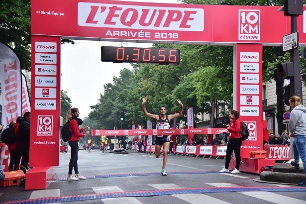 10Km l'Equipe Paris 2016 - 29/05/2016 – Paris – France – Arrivée du vainqueur Thierry Guibault en 30mn56s