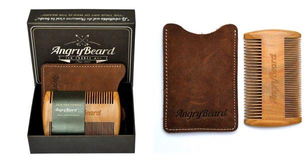 AngryBeard - Peigne à barbe et sa pochette en cuir