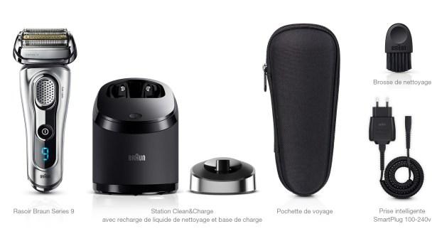 Braun Series 9 rasoir électrique : livré avec la station de nettoyage Clean & Charge + cartouche de nettoyage + une pochette de voyage en cuir + un cordon d'alimentation et une brosse de nettoyage