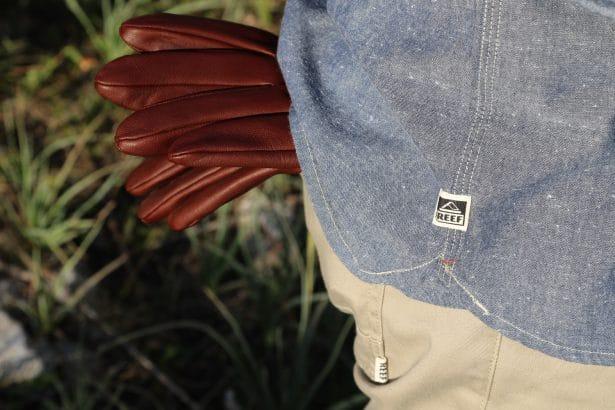 Gants Stetson à l'arrière du pantalon pendant que je coupe du bois :)