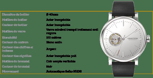 Caractéristiques de ma nouvelle montre automatique Grayton à 275€