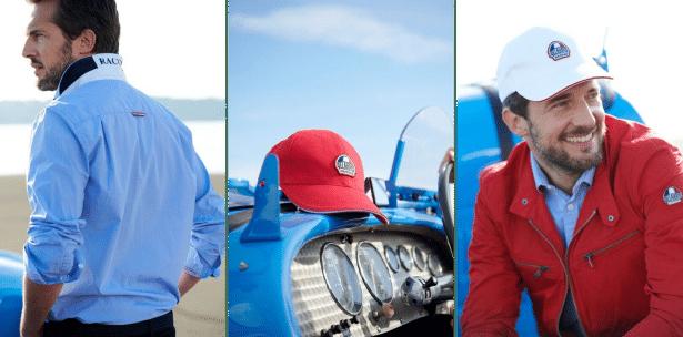 Chemise sport chic, casquettes et veste de la collection Racing Delahaye