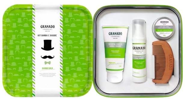 Belle boîte en métal contenant : Le Shampoing barbe, moustache et cheveux, le Conditionneur leave-in, la Cire modelante et un Peigne de coiffage Prix: 65€