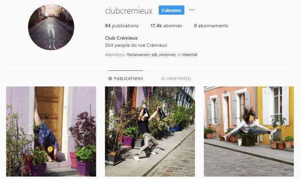 Compte Instagram de la rue Crémieux : Club Crémieux