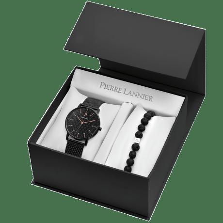 Coffret montre pour homme Pierre Lannier avec bracelet en perles