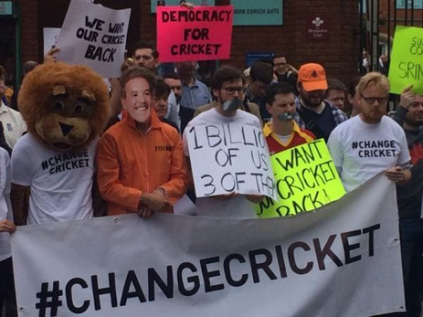 """Dozens of demonstrators gathered outside The Oval in protest against """"Big Three""""."""
