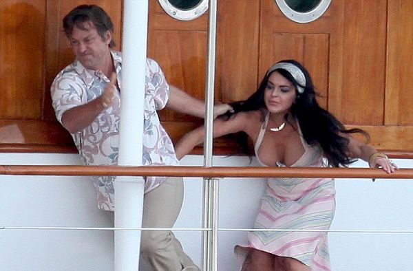 Oops! Lindsay Lohan Wardrobe Malfunction - Lindsay Lohan and Grant Bowler as Elizabeth Taylor and Richard Burton