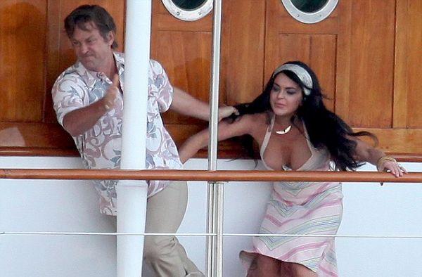 Oops! Lindsay Lohan Wardrobe Malfunction - Lindsay Lohan and Grant Bowler as Elizabeth Taylor and Richard Burton