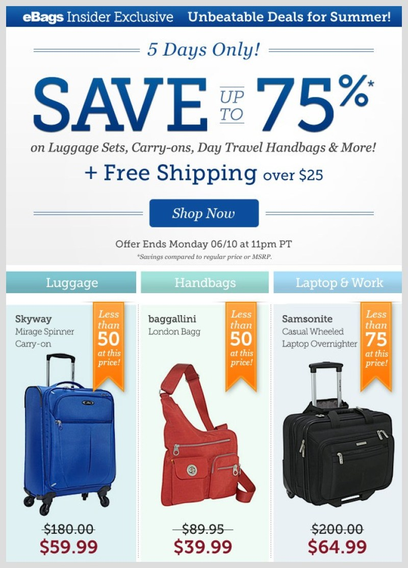 eBags 5 Day Unbeatable Deals for Summer