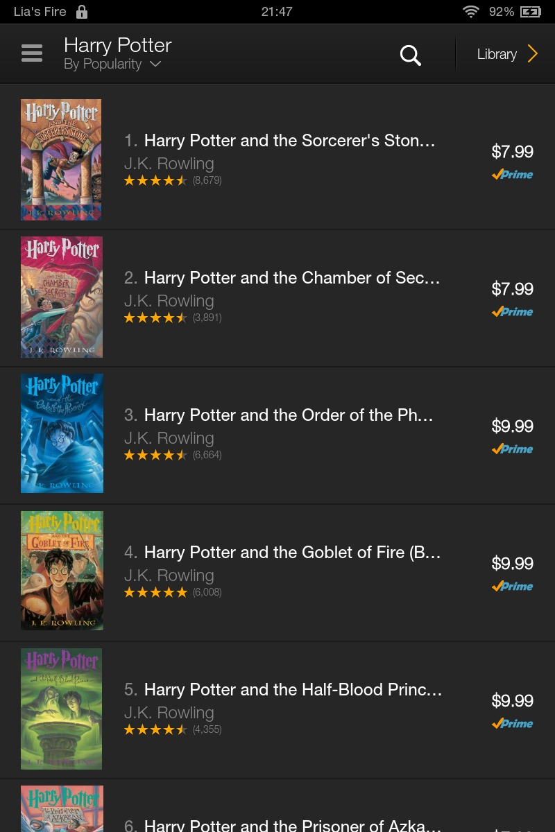 How to borrow ebooks from Kindle Owners' Lending Library on your Kindle Fire - Harry Potter 1-7
