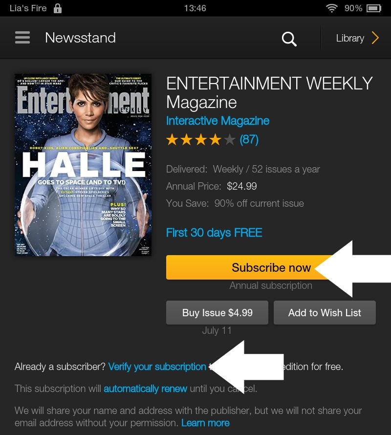 How to subscribe to Interactive Kindle Magazines on your