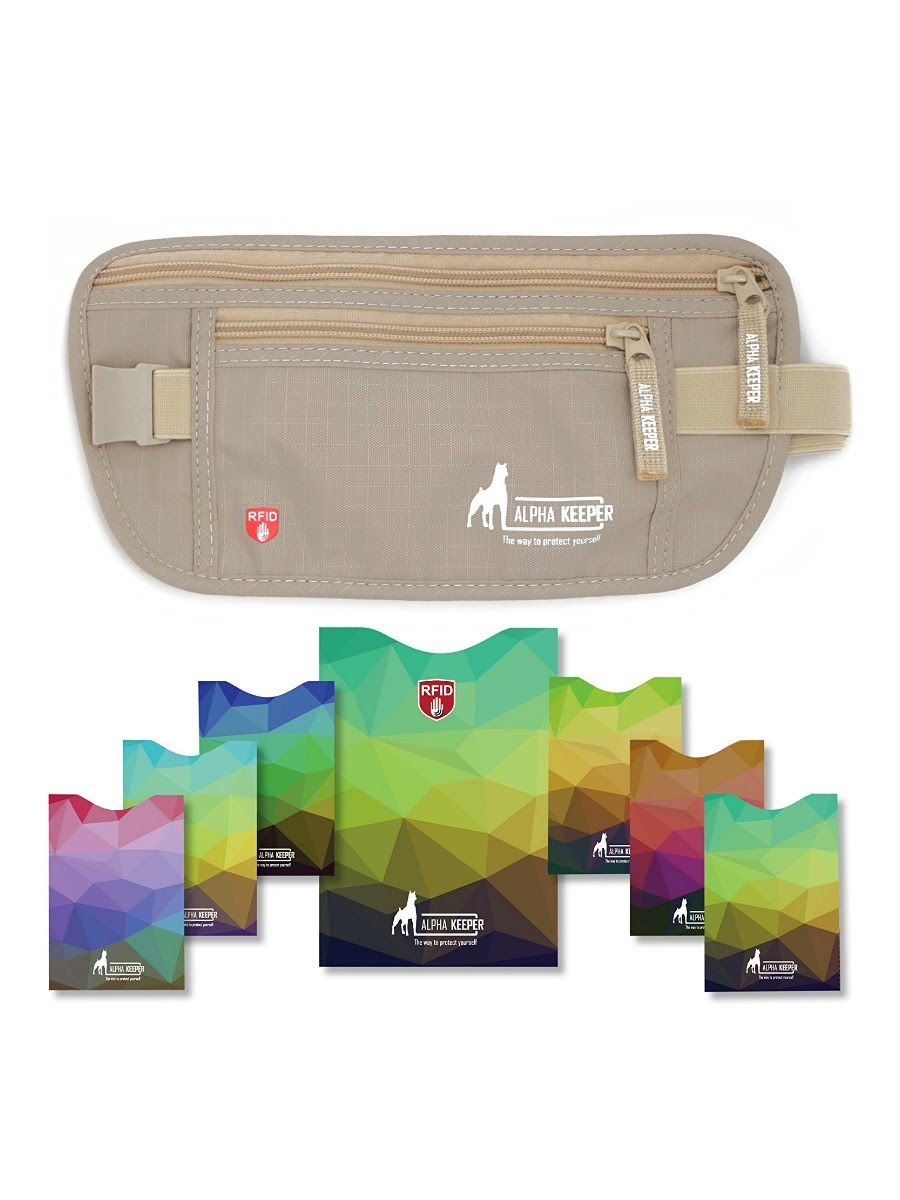 Money Belt For Travel With RFID Blocking Sleeves Set - Beige