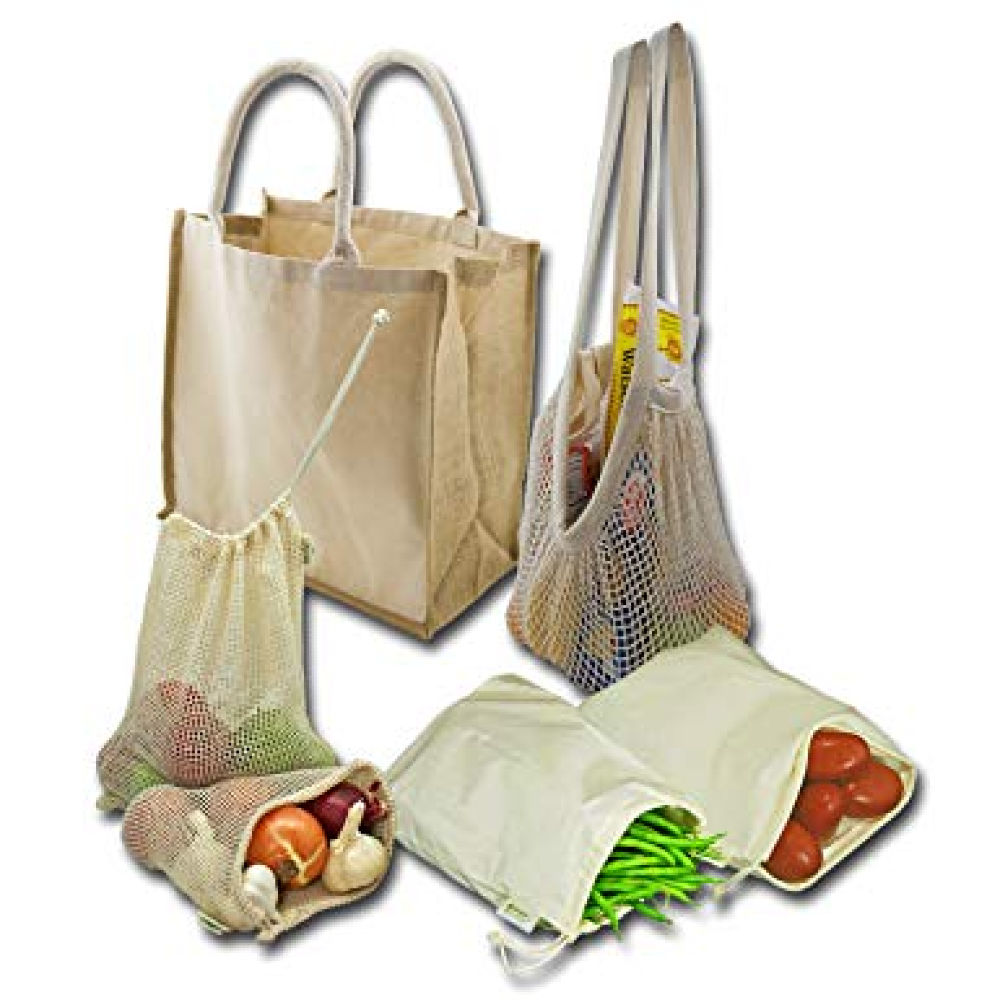 Simple Ecology Organic Reusable Farmers Market Grocery Shopping Bag Set