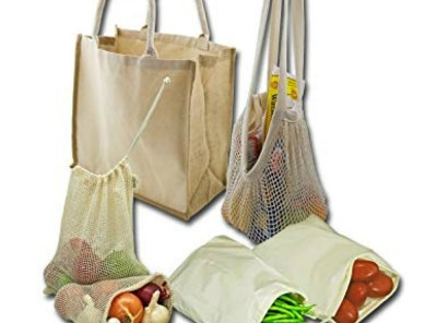 Simple Ecology Organic Reusable Grocery Shopping Bag Set
