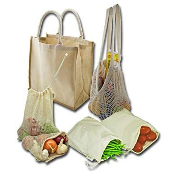 Simple Ecology Organic Reusable Grocery Shopping Bag Set