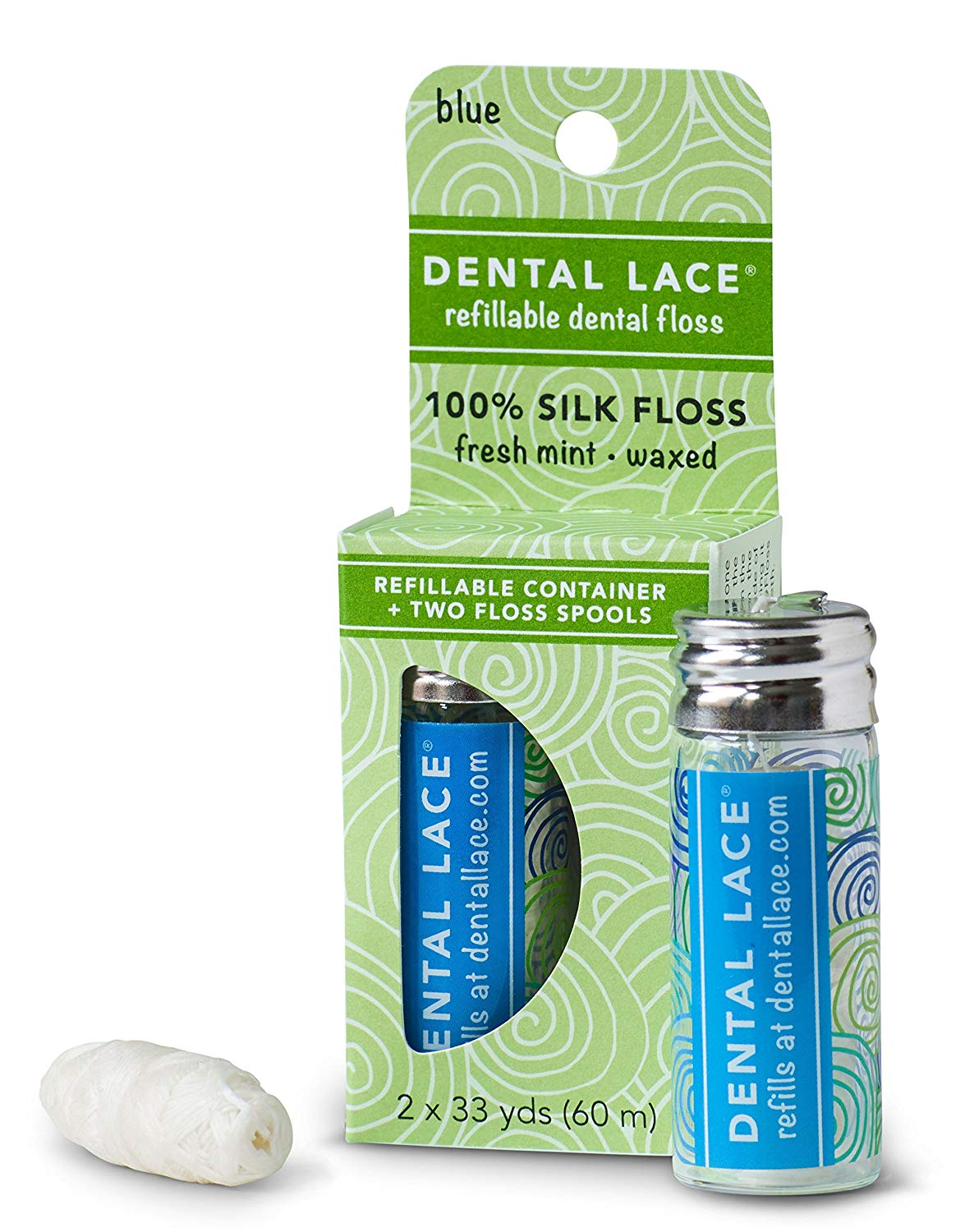 Dental Lace Silk Dental Floss with Natural Mint Flavoring with 1 Dispenser and 2 Floss Spools