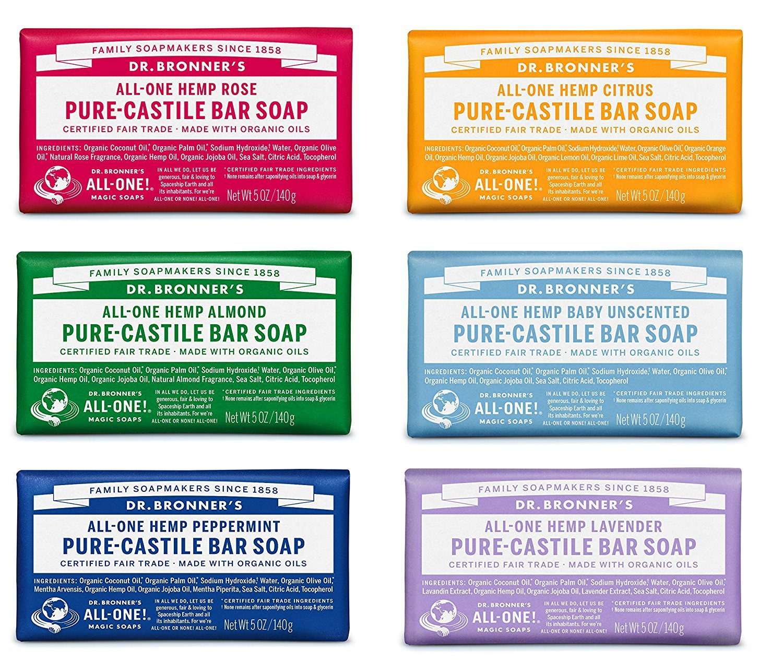 Dr. Bronner's Pure-Castile Bar Soap Variety Gift Pack 5oz - Pack of 6