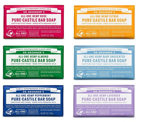 Dr. Bronner's Pure-Castile Bar Soap Variety Gift Pack 5oz - Pack of 6